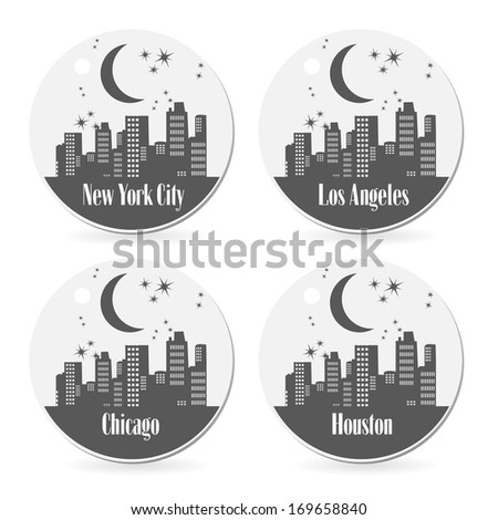 Stamps of 4 american cities - stock vector