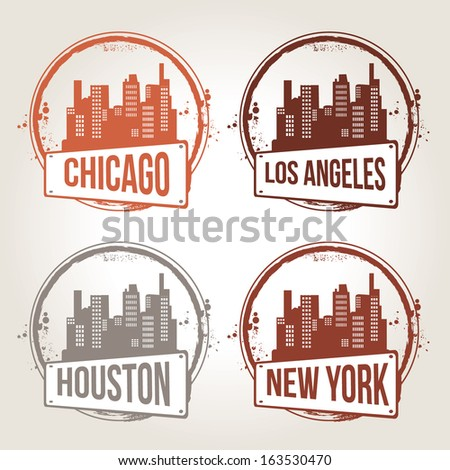 Stamps of 4 cities in USA - stock vector