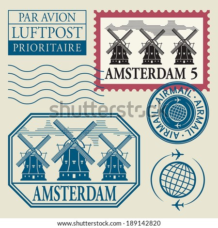 Stamps set with word Amsterdam inside, vector illustration - stock vector