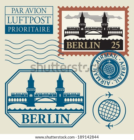 Stamps set with word Berlin inside, vector illustration - stock vector