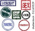 Stamps with sexual influence - stock vector