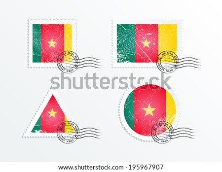 Stamps with the image of the flag. Stamp with flag. Triangular stamp, stamp rectangular, round stamp, square stamp. Mark in grungy style. Battered mark. Old label. Flag of Cameroon