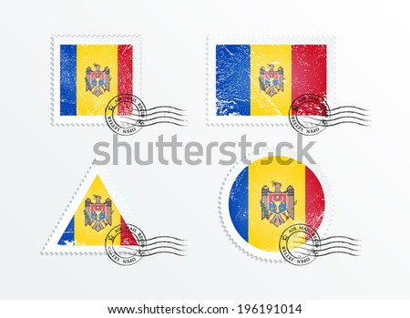 Stamps with the image of the flag. Stamp with flag. Triangular stamp, stamp rectangular, round stamp, square stamp. Mark in grungy style. Battered mark. Old label. The flag of Moldova