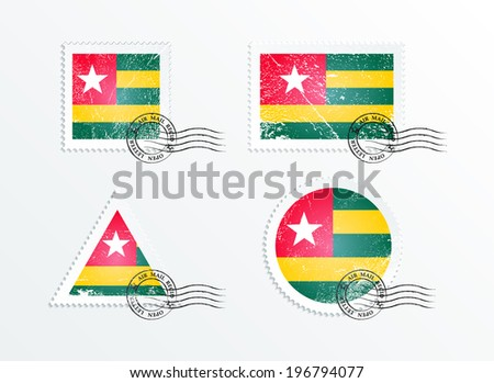 Stamps with the image of the flag. Stamp with flag. Triangular stamp, stamp rectangular, round stamp, square stamp. Mark in grungy style. Battered mark. Old label. Flag of Togo