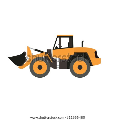 Stand alone Icon in flat style ( front wheel loader ) - stock vector