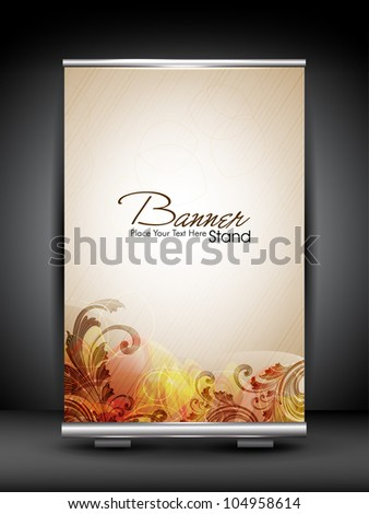 Stand banner with roll up display for product promotion or template design with colorful floral concept. EPS 10, editable vector illustration. - stock vector
