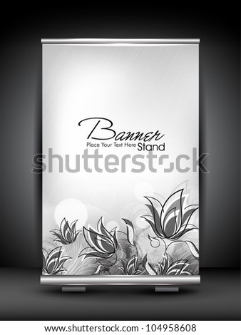 Stand banner with roll up display for product promotion or template design with floral concept. EPS 10, editable vector illustration. - stock vector