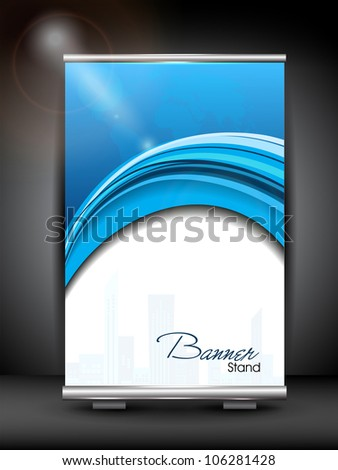 Stand banner with roll up display for product promotion or template design with shiny blue wave pattern. EPS 10 - stock vector