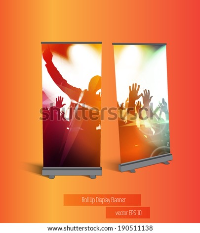 Stand banner with roll up display, vector - stock vector