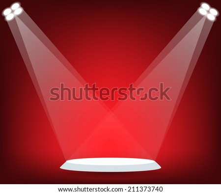 Stand on red stage - stock vector