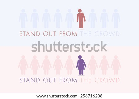 Stand out from the crowd. Vector illustration. - stock vector