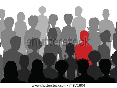Stand out in a crowd - stock vector