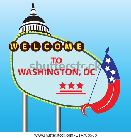 Stand Welcome to Washington, DC. Vector illustration. - stock vector