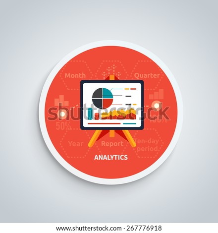 Stand with charts and parameters. Business concept of analytics on round banner. Can be used for web banners, marketing and promotional materials, presentation templates  - stock vector