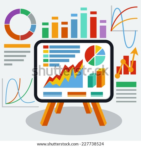 Stand with charts graphs and parameters. Business concept of analytics - stock vector