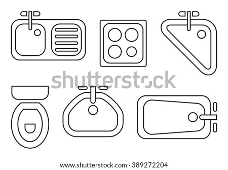 kitchen symbols used in architecture plans icons set graphic design