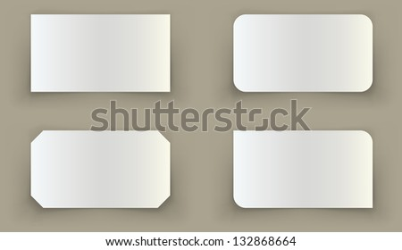 Standard business card shadow curled edges illusion template. Easy to change background color. - stock vector