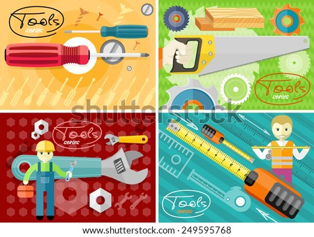 Standard cabinet tip screwdriver, turn-screw. Hand saw set for wood. Man, person with toolbox and wrench in hands. Male worker showing folding ruler roulette. Tools series. Flat icon modern design - stock vector