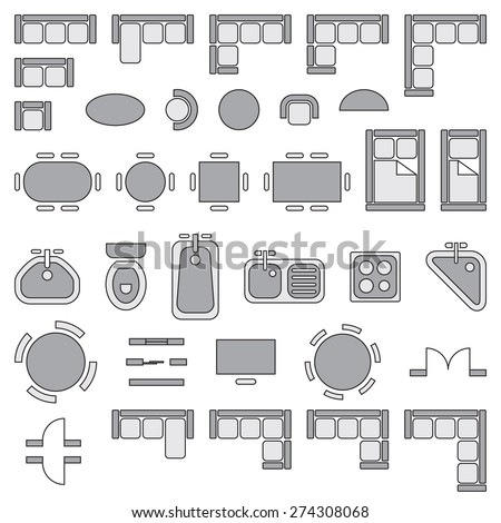 Architecture Design Elements standard furniture symbols used architecture plans stock vector