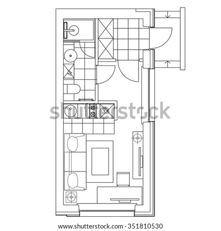 Small Kitchen Interior Stock Vectors Vector Clip Art Shutterstock