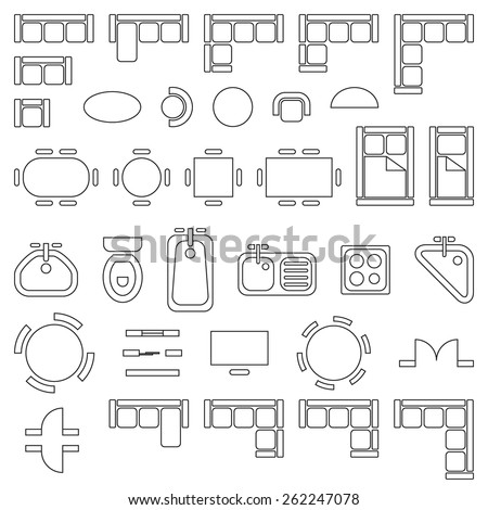 Standard furniture symbols used in architecture plans icons set, graphic design elements, outlined, isolated on white background, vector illustration. - stock vector