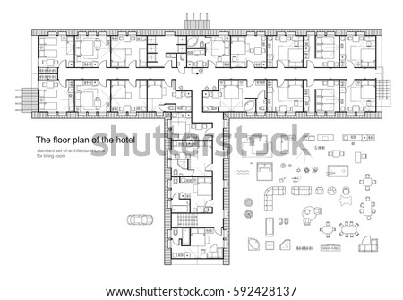 Floor plan icons stock images royalty free images for Hotel design standards