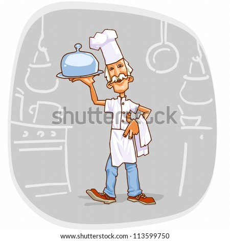 Standard illustration of Cook Chief holding a towel and a dish.