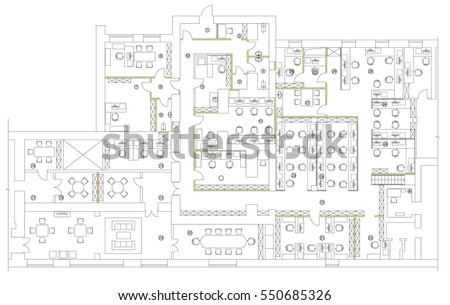 office furniture floor plan. Standard office furniture symbols set used in architecture plans  planning icon graphic Office Furniture Symbols Set Used Stock Vector 550685326