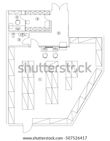 Basic house plan stock images royalty free images for Warehouse house plans