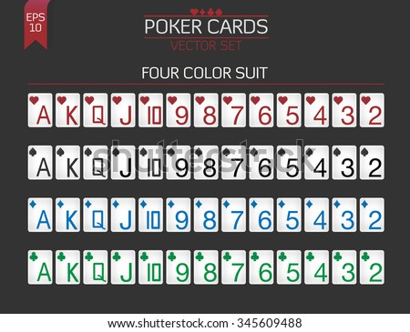 Standard Poker cards vector set for poker client with huge index and four colors suit. - stock vector