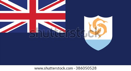 Standard Proportions and Color for Anguilla Official Flag - stock vector