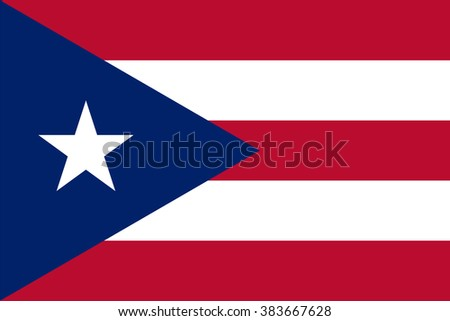 Standard Proportions and Color for Puerto Rico Flag - stock vector