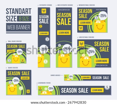 Standard size web banners set. Vector Web Banners - stock vector