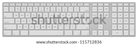 Standard US Keyboard - Digital computer equipment with white input keys