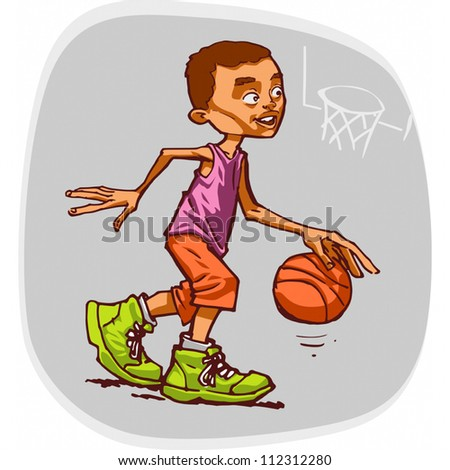 Standard vector illustration of young basketball player.