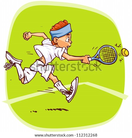 Standard vector illustration of young tennis player.