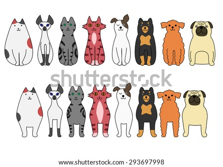 standing and sitting cats and dogs - stock vector