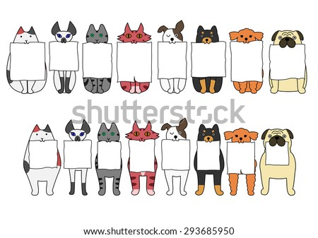 standing and sitting cats and dogs with board in their mouths - stock vector