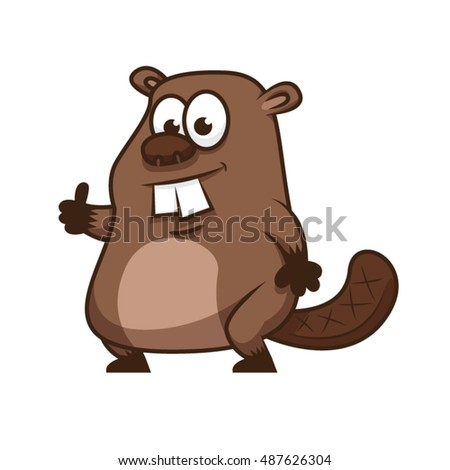 standing beaver with thumb up
