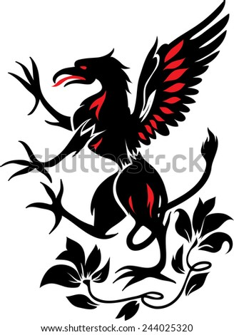 Standing Black Griffin with flower black and red silhouette - stock vector