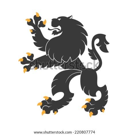 Standing black  heraldic lion. Vector Illustration - stock vector