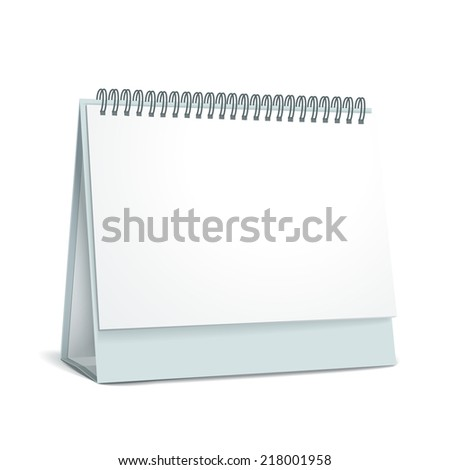 standing blank calendar isolated on white background - stock vector