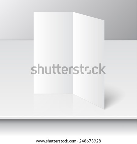 standing blank two fold paper brochure on a shelf. Open magazine. Cover for your design - stock vector