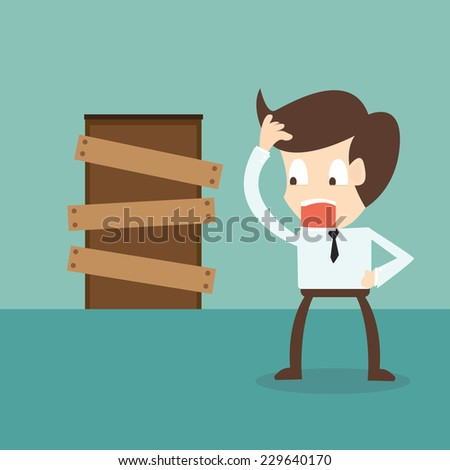 standing businessman and closed door - barriers to entry - stock vector