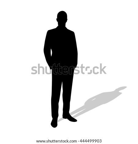 Standing Businessman Suit Vector Silhouette Hands Stock ...