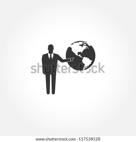 Standing businessman pointing  on the globe - vector icon - stock vector