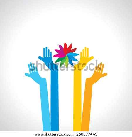 standing hands caring concept