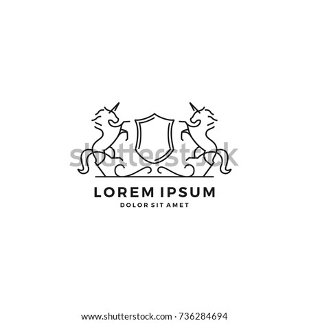 Lion shield line art outline logo stock vector 734331202 standing horse crest shield line art outline logo vector template pronofoot35fo Image collections