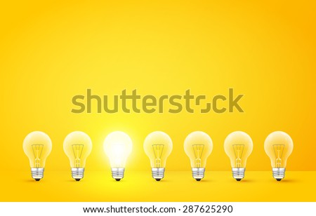 Standing in a row light bulbs with glowing one on a yellow background. Unlike others or odd man out concept. Vector illustration - stock vector