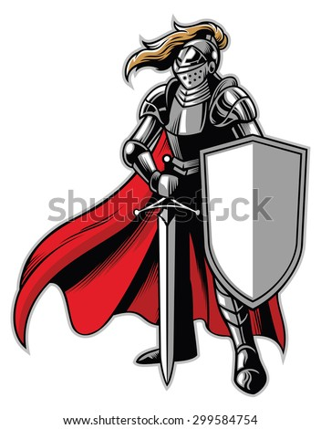 standing knight mascot - stock vector